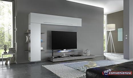 Pareti Soggiorno Grigio E Bianco : Web convenienza line 13 bianco lucido e rovere grigio parete
