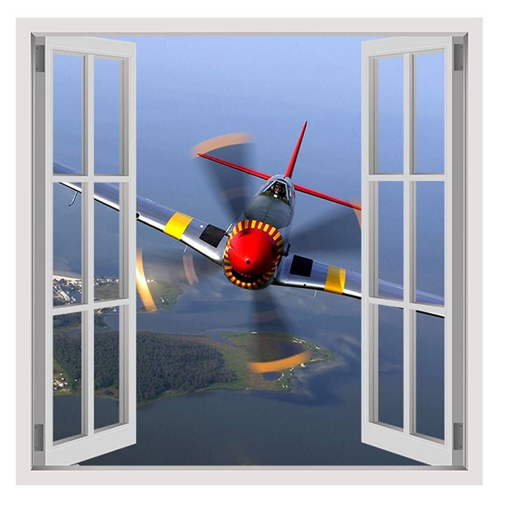 Alonline Art - Planes Propeller by Fake 3D Window   framed stretched canvas on a ready to hang frame - 100% cotton - gallery wrapped   32''x32'' - 81x81cm   Wall art home decor for bedroom artwork HD by Alonline Art