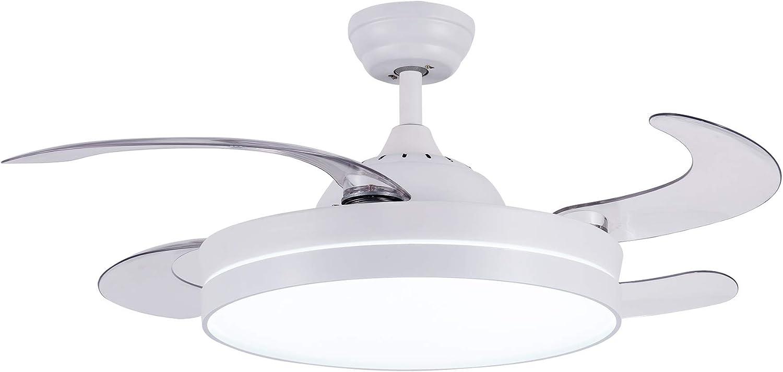 CJOY Ventilador de Techo con Luz Regulable, Ventilador de Techo con Iluminación LED Mando a Distancia Blanco 42 pulgadas AC 220V 50 / 60HZ Silencioso 4 aspas Fabricadas en ABS