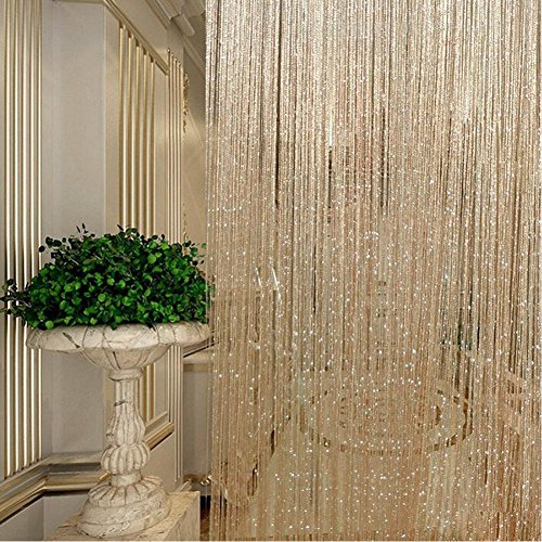 MOOUS 2PCs String Sparkle Curtains,Door Curtain Beads Decorative String Door Curtain Room Divider Window Tassel Curtain Panel for Bedroom Hotel(200cm100 cm,Champagne)