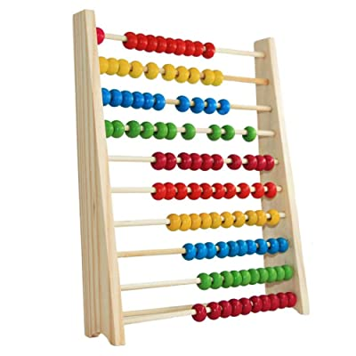 XinMalls Kids 10-Row Wooden Beads Abacus Count Frame Teaching Aid Math Educational Toy Early Learning Mathematics Development Toys for Children Mixed Color: Toys & Games