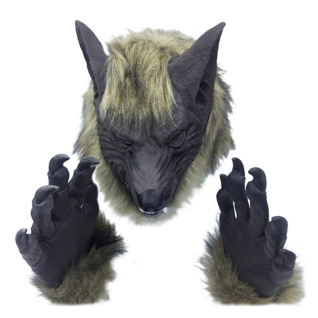 Halloween Costume Head Mask Horror Animal Head Simulation Mask Headgear for The Party Toy Gift (Gray Wolf+Gloves)
