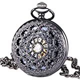 Carrie Hughes Black Spiderman Steampunk Skeleton Mechanical Pocket Watch with Chain Gifts CH335