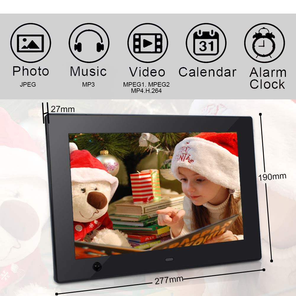 Digital Photo Frame 10 inch IPS Display Electronic Picture Frame with Motion Sensor 1080P HD LCD Display, Video Player/ MP3/ Calendar/Zoom in & Rotate Pictures/Remote Control [Jimwey] by Jimwey (Image #4)