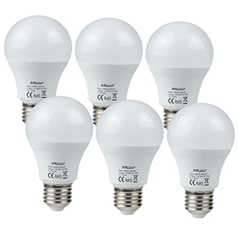 AREOUT Bombillas LED E27 A60, Equivalente a 70w, 10W A60 900LM, Blanco Cálido
