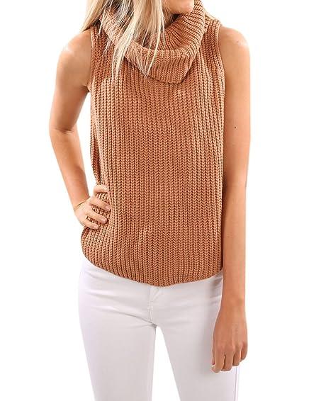 Wollsolo Womens Cowl Nek Sweater Vest Sleeveless Casual Turtleneck