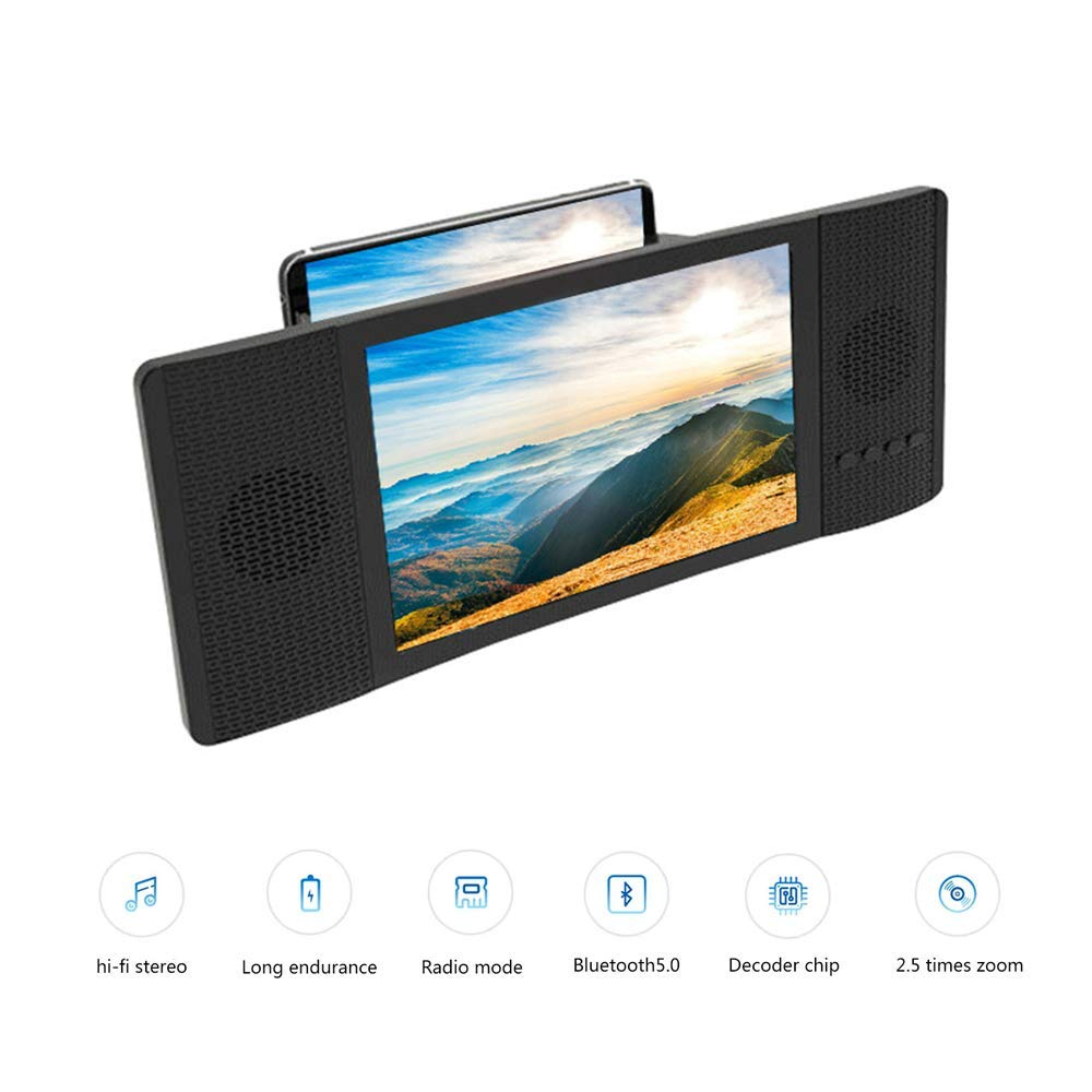 ZYG.GG 8''Screen Magnifier 3D Smartphone Screen Magnifier Adjustable Enlarger Screen Support USB Flash Drive & TF Card Play Protect Eyes,Black