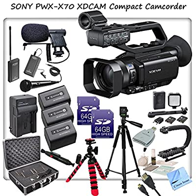 Sony PXW-X70 Professional XDCAM Compact Camcorder w/ CS Interview/Documentary Kit: Includes 3 Long Life Sony NP-FV100 Replacement Batteries, Rapid Travel Charger With Car Adapter & Euro Plugs, Stabilizing Handle/Grip, Wireless Lapel & Handheld Mic System,
