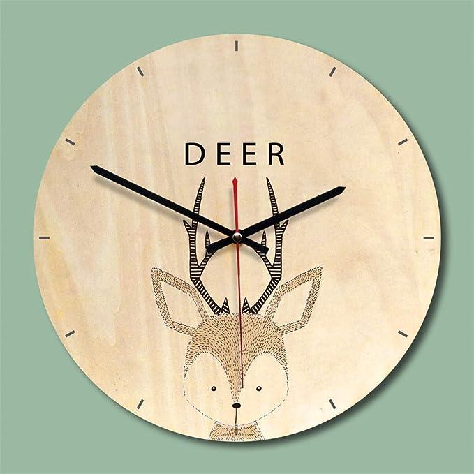 Amazon.com: SHFISIKI Creative Wooden Wall Clock Modern Design Living Room Wall Watch Mute Quartz Reloj De Pared Decorativo Pink: Home & Kitchen