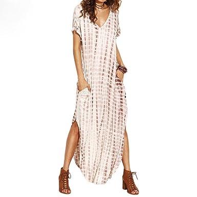 Sanfashion Robe Longue Femme Ete Chic Casual Loose Col Ronde Florale Rayures Treillis Classique Retrot Shirt Jupe Dress Quaotidien Plage