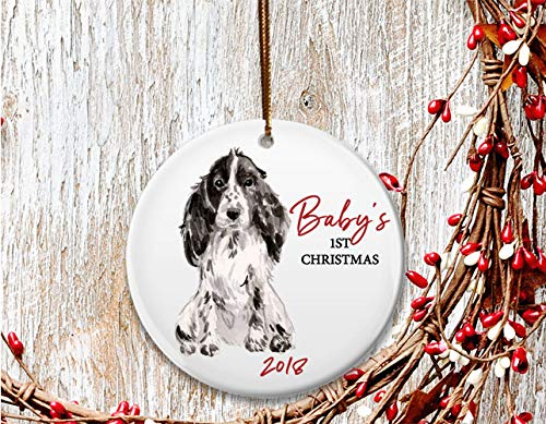 (New Dog mom Christmas ornament, Baby's 1st Christmas, Cocker Spaniel puppy - Dated 2018)
