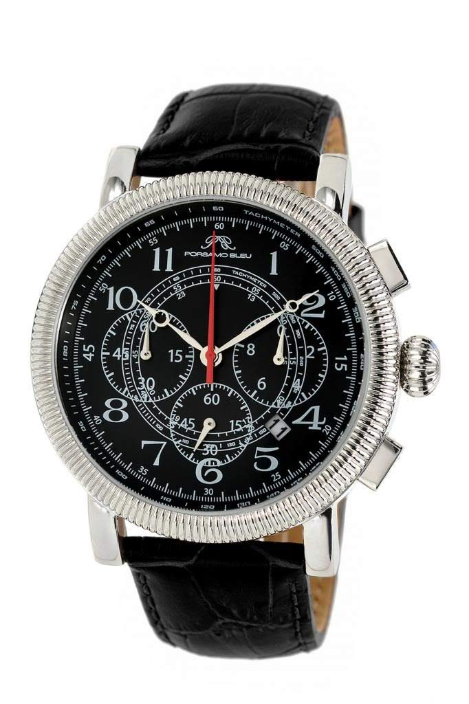 Luxury Phileas Genuine Leather Silver Tone & Black Men's Watch 472APHL