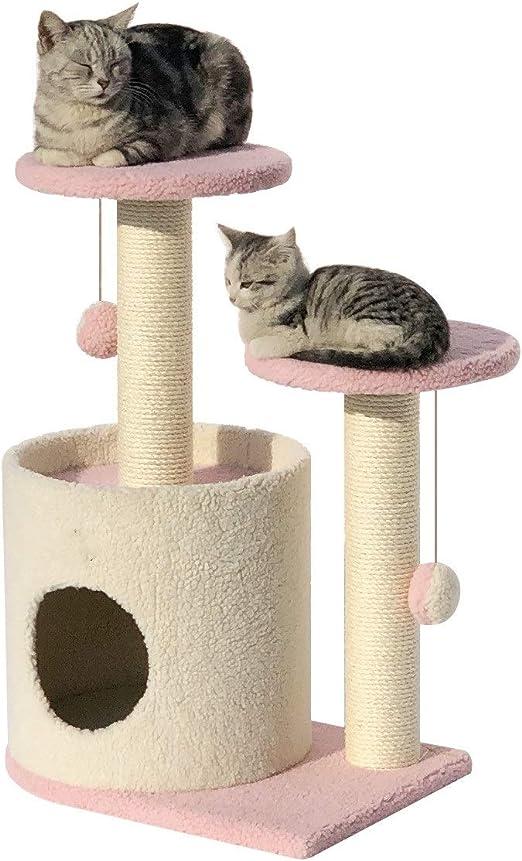 Zhicaikeji Pequeño Gato de sisal Que Sube Marco Gato árbol Felpa Gato Saltando Arena para Gatos (Color : Pink): Amazon.es: Productos para mascotas