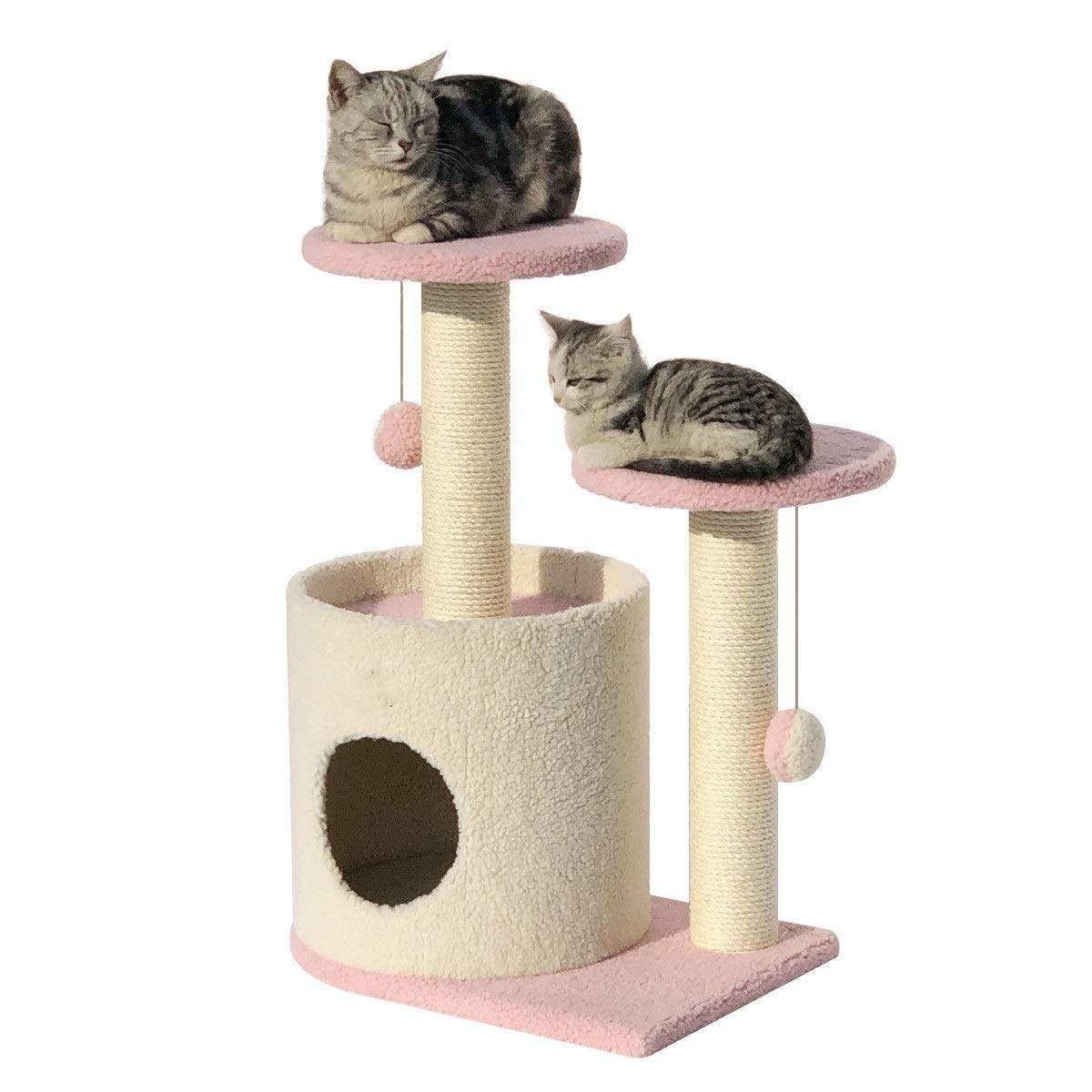 Pink Zhicaikeji Small sisal cat climbing frame cat tree plush cat jumping cat litter (color   Pink)