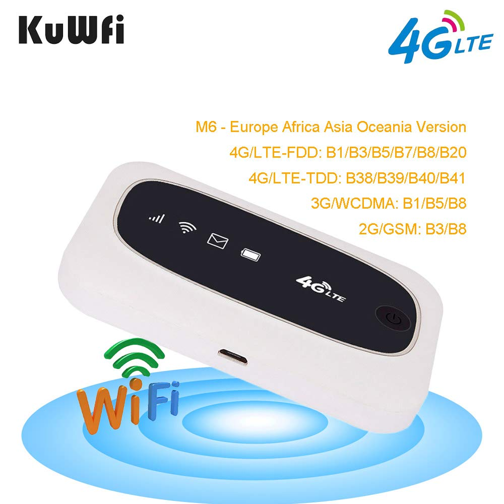 KuWFi 4G LTE Mobile WiFi Hotspot Travel Router Partner Wireless SIM Routers with SD SIM Card Slot Support LTE FDD/TDD Work for Europe Africa Asia Oceania