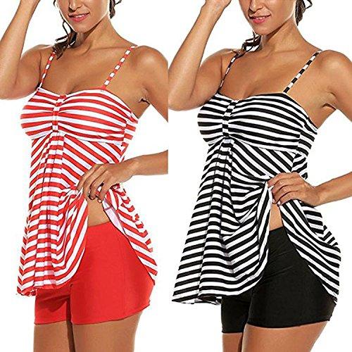 Morbido Nero Elastico Costume pezzi Stripes Bikini con Inlefen da pantaloncini Plus Tankini 2 Size bagno 6ax8nqRz