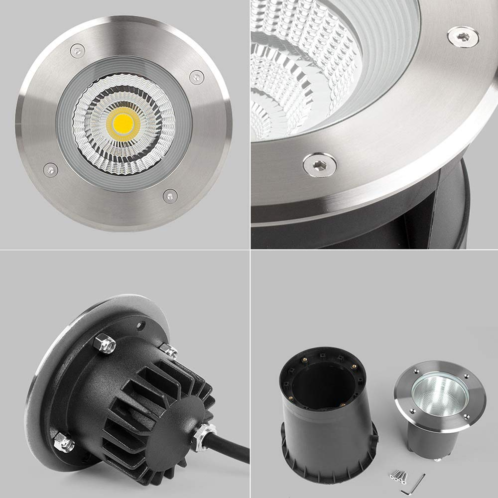 Pinjeer Modern Recessed 24W Led Outdoor In-ground Light IP67 Waterproof Tempered Glass Stainless Steel Landscape Buried Lamp Community Garden Lawn Aisle Balcony Lighting In-ground Light