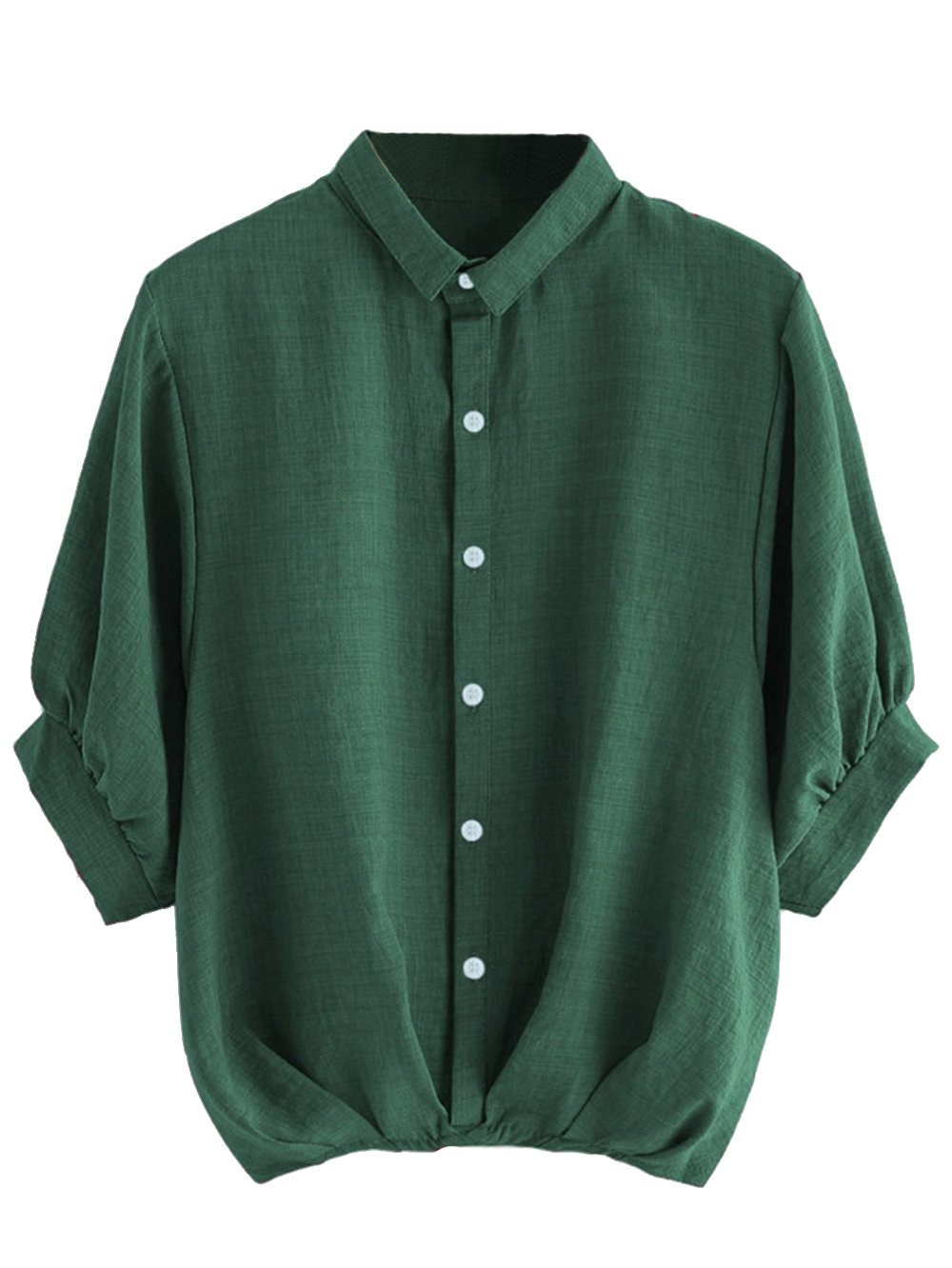 Milumia Women's Lantern Sleeve Pleated Detail Button Down Blouse Shirt Medium Green