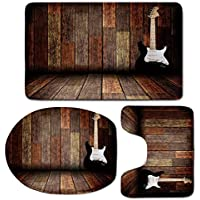 3 Piece Bath Mat Rug Set,Popstar-Party,Bathroom Non-Slip Floor Mat,Electric-Guitar-in-the-Wooden-Room-Country-House-Interior-Music-Theme,Pedestal Rug + Lid Toilet Cover + Bath Mat,Brown-Black-White