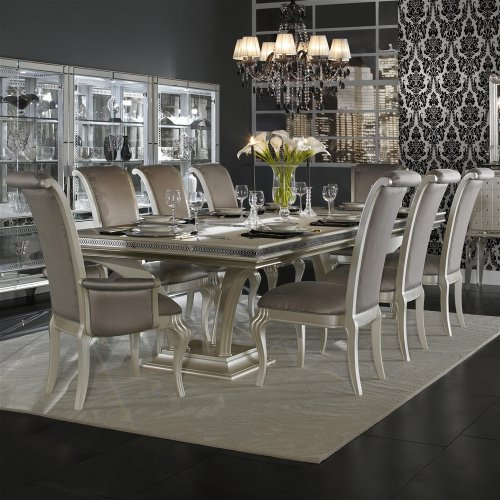 Hollywood Swank 9 Piece Trestle Dining Table and Chair Set By Aico Amini