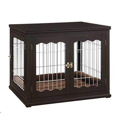 Unipaws Pet Crate End Table With Cushion Wooden Wire Dog Kennels With Double Doors Modern Design Dog House Medium Crate Indoor Use