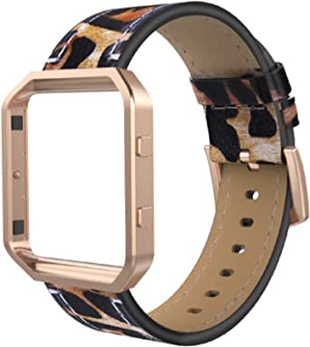 Simpeak Leather Band Compatible with Fit bit Blaze, Small Size with Frame, Genuine Leather Band Replacement for Fit bit Blaze, Leapard + Rose Gold Frame