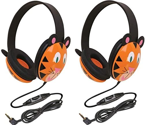 Califone 2810-TI Tiger Motif Listening First Stereo Headphone Pack of 2 , Adjustable Headband Comfortable for Extended wear, Specifically Sized for Young Children