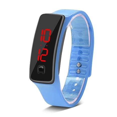 Filfeel Reloj de Pulsera LED,Correa de Silicona Deportiva Reloj de Pulsera Digital DE 12 Horas con Pantalla Electrónica(Lago Azul)