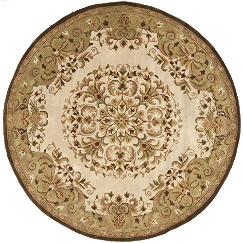 Safavieh Heritage Collection HG640A Handcrafted Traditional Oriental Beige and Green Wool Round Area Rug (6