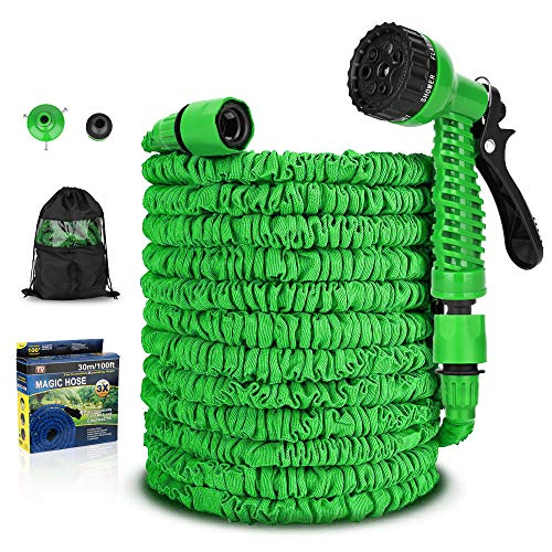FKMHPE Garden Hose, Expandable Water Hoses Lightweight Flexible Collapsible Hose Nozzle Extra Strength Fabric Water Pipe for Patio Lawn Outdoor Car Pet Washing (100FT, Green)