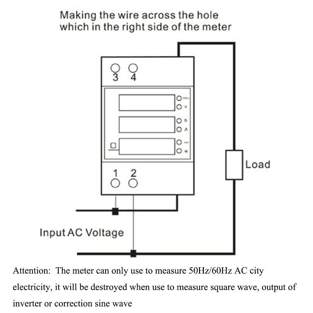 KETOTEK Power Meter AC Digital Multimeter Voltage Current Electricity Power  Meter 80-300V 0-100A Built-in Transformer Voltmeter Ammeter Power Meter Din  Rail ...