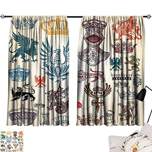 (Abeocg Sliding Curtains Medieval Collection of Medieval Renaissance Icons Retro Style Baroque Classical Art Print Breathability W63 xL63 Multicolor)
