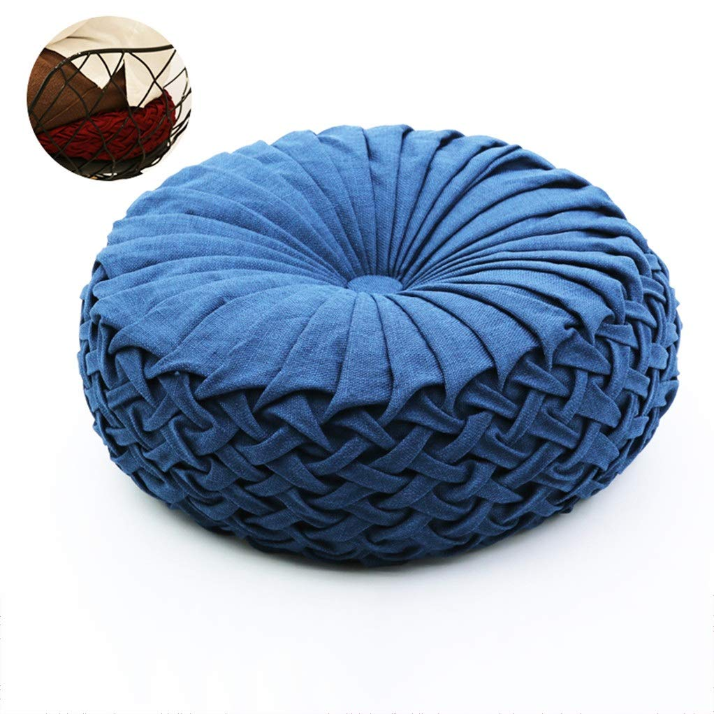 Zuodian YL Handmade Round Home Thick Tatami futon Floor Cushion Upholstery Living Room Coffee Table Balcony Window Tatami can wash Washing Machine Diameter 43cm (Color : Blue)