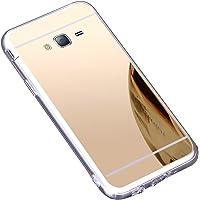 Surakey Cover Samsung Galaxy J3, Effetto Specchio Custodia in Silicone Brillante Colore di Placcatura Mirror Case Antiurto TPU Bumper Ultra Sottile e Leggero Protettiva Cover per Samsung Galaxy J3,Oro