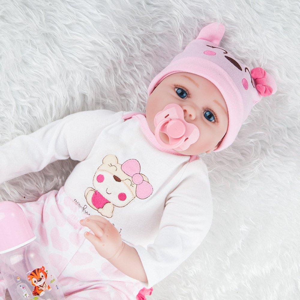 JHGFRT Wiedergeburt Baby Puppe Kinder Puzzle Frühes Lernen Spielzeug Geschenk Weißhe Silikon Simulation Neugeborenes Baby, Kleidung Schnuller Und Wasserkocher Set,55cm 55cm