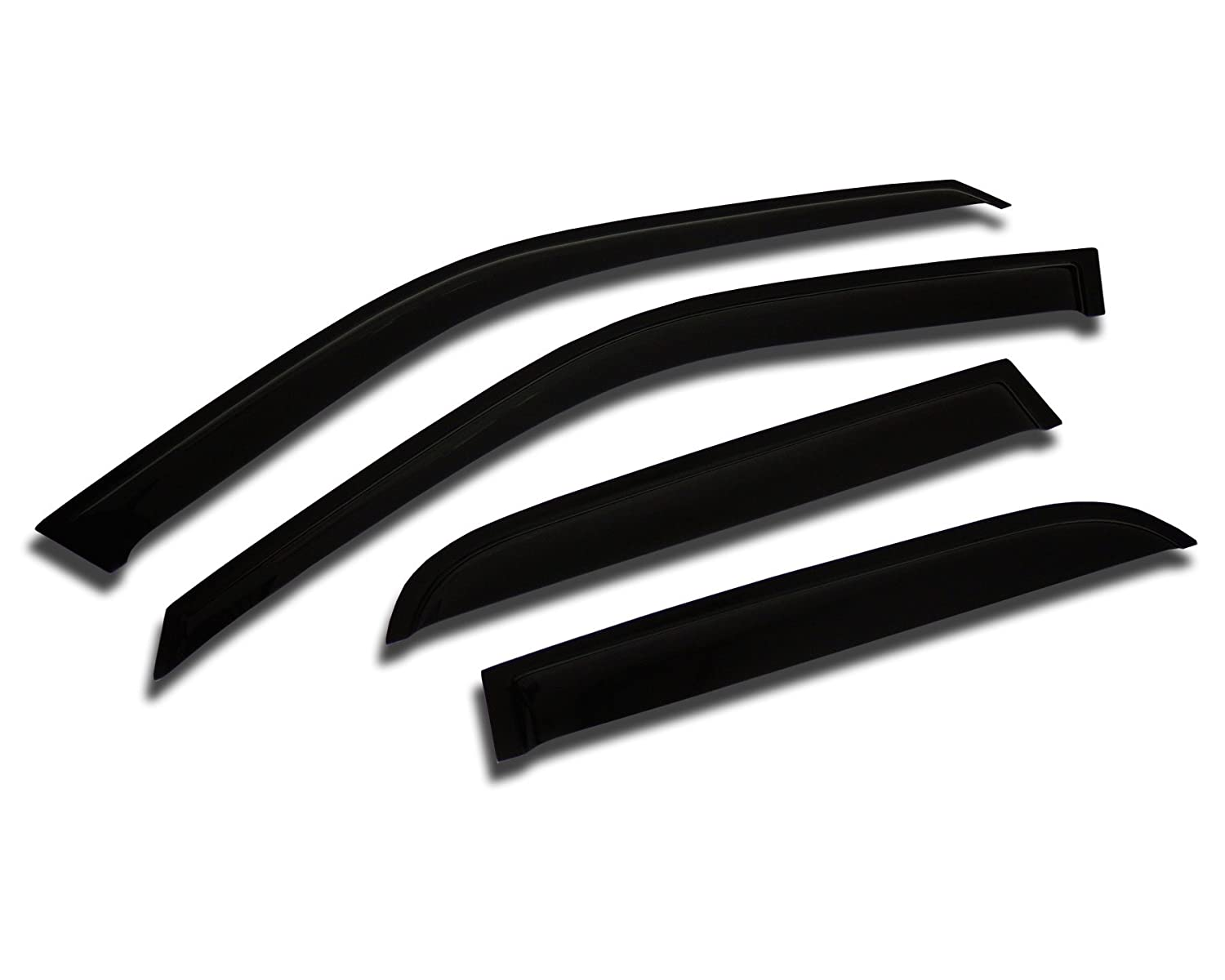TuningPros WV2M-505 Outside Mount 2.0mm Window Visor Deflector Rain Guard Dark Smoke 4 Pcs Set Compatible With 2003-2008 Infiniti FX35 FX45