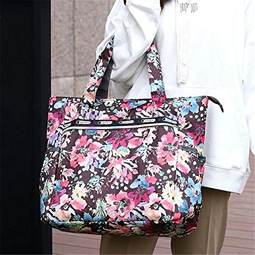 Ibeliver Nylon Large Lightweight Tote Bag Shoulder Bag for Gym Hiking Picnic Travel Beach Waterproof Tote Bags (Gorgeous FLower) by Ibeliver (Image #3)