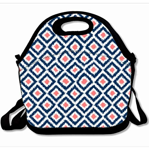 Ahawoso Reusable Insulated Lunch Tote Bag Navy Blue Coral Diamonds Design 10X11 Zippered Neoprene School Picnic Gourmet Lunchbox