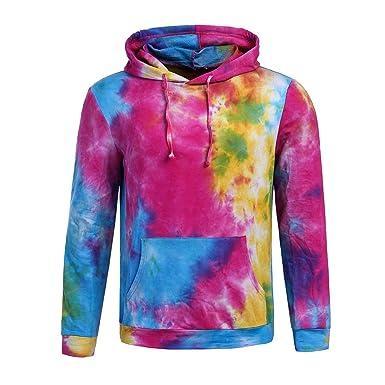 newest da5f7 7f5f7 Amazon.com  elepbaba Spring colorful Tie Dye Hooded Boys Hoodies Men Women  Sweatshirts With Cap  Clothing