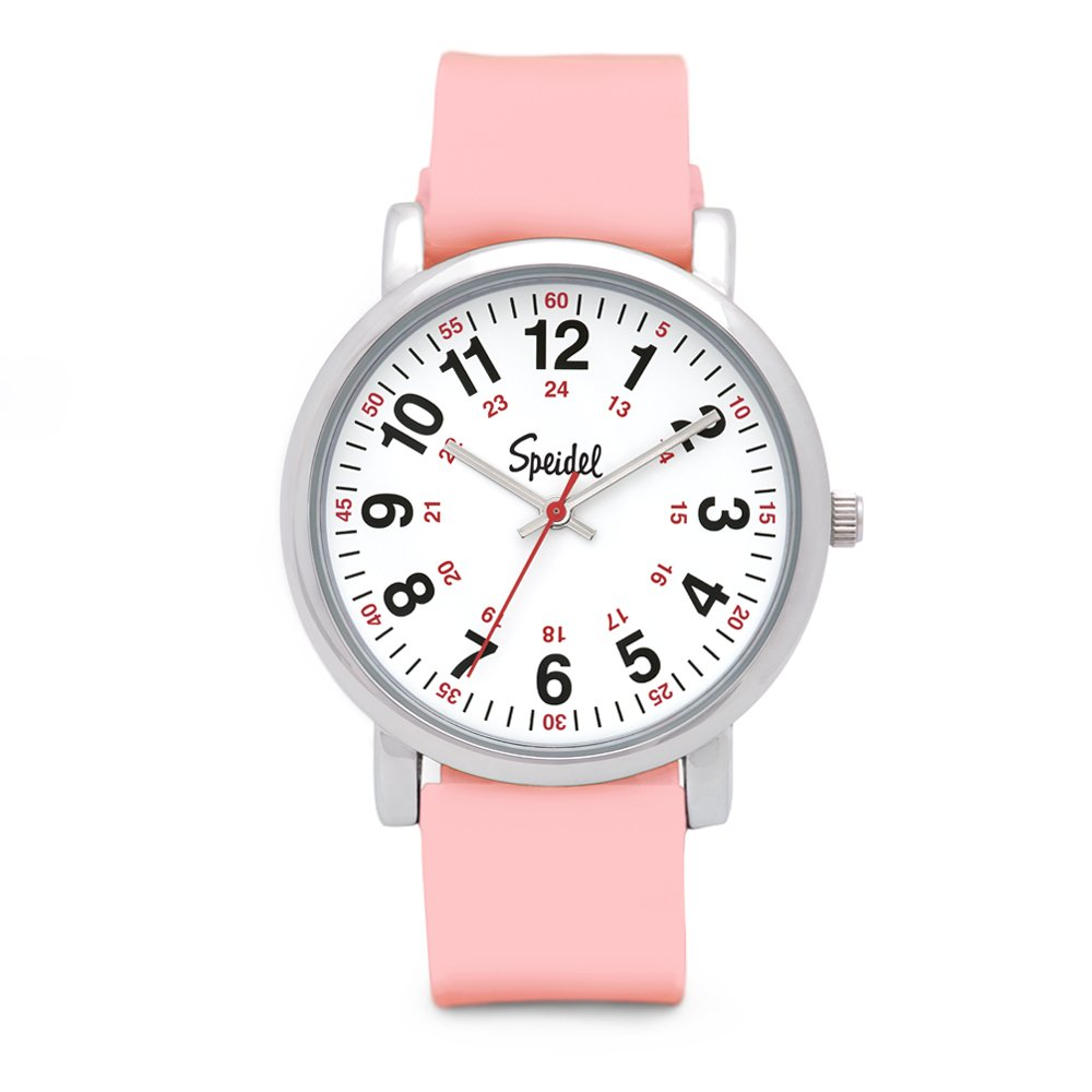 Speidel Scrub Watch for Medical Professionals with Light Pink Silicone Rubber Band, Easy to Read Dial, Red Second Hand, Military Time for Nurses, Doctors, Surgeons, EMT Workers, Students and More