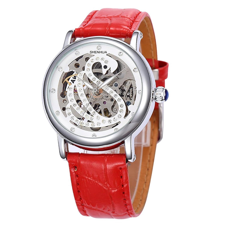GuTe Elegant Damen Diamant Weiß Schwan Skelett Auto Mechanisch Armbanduhr Rot Armband