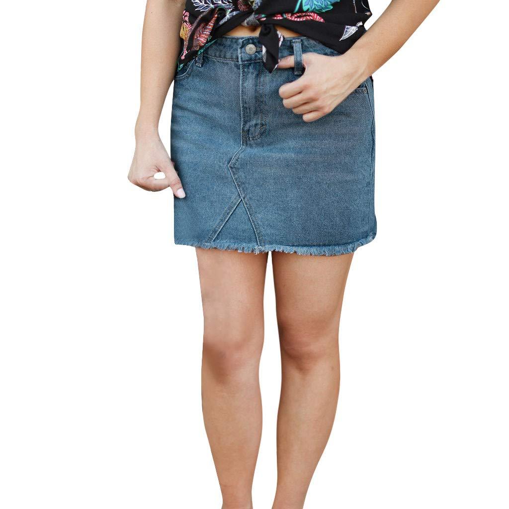 Pervobs Women Fashion Modern Denim Skirt Button Zipper Fly Open Boot Cut Mini Skirt Shorts with Pockets(2XL, Blue)