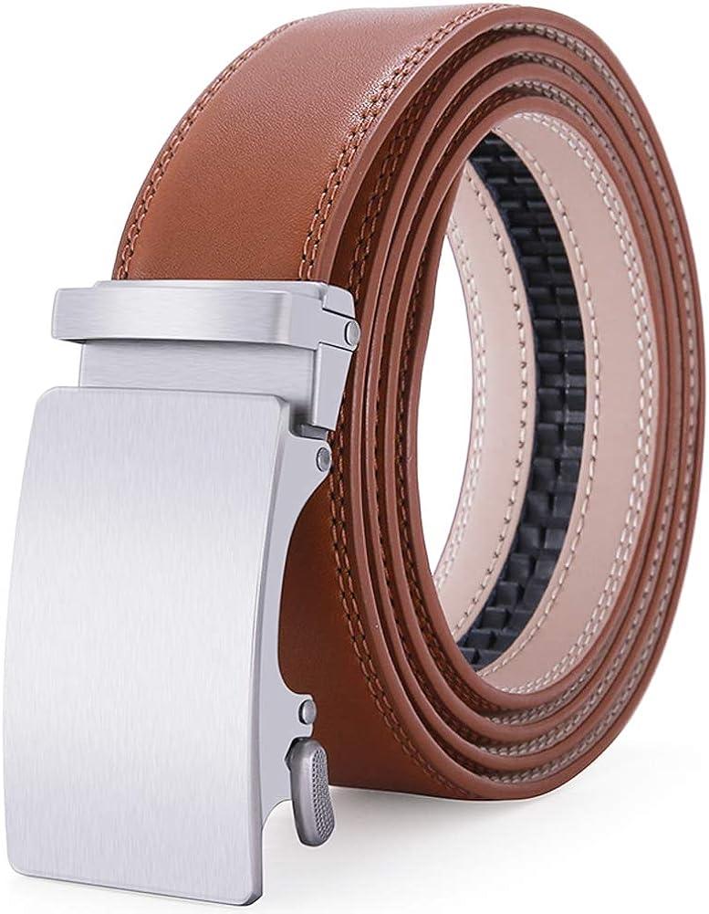 Mens Leather Belt with Automatic Buckle 35mm wide Ratchet Dress Belt -Trim to Fit color5, Waist:26-45