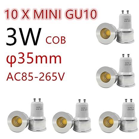 10 x Bombilla LED 35mm GU10 3W 4500K Spotlight mini 220V 240V Spot Angulo living dormitorio