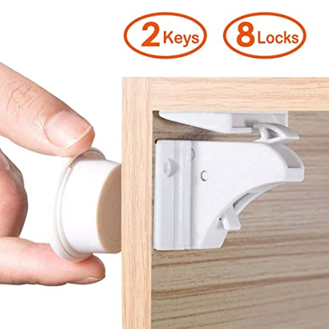 LATTCURE 8PCS Cerradura Magnética y 2PCS Key Latch Closet Seguridad Kit Baby Latch Lock Cajón del Gabinete