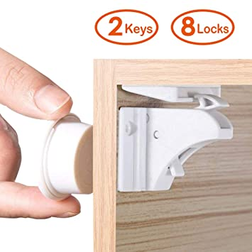 10 Locks+2 Keys. LATTCURE Child Safety Cupboard Locks Baby Safety Locks Magnetic Locks for Cabinets and Drawers