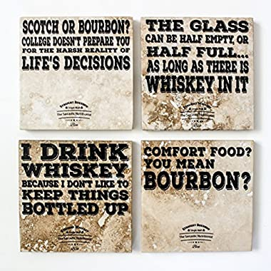 Handmade Stone Coasters | Funny, But True Bourbon and Whiskey Coasters | Set of 4, with coaster holder