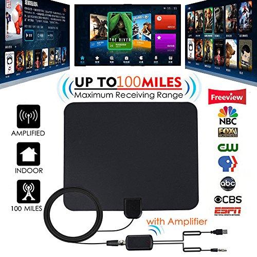 (HDTV Antenna, 80-120 Miles Indoor HDTV Antena Digital TV Antenna + Signal Amplifier Booster VHF UHF Cable TV Surf Fox Antenas TV Radius Antennas DVB-T/T2 - Updated 2018 Version)