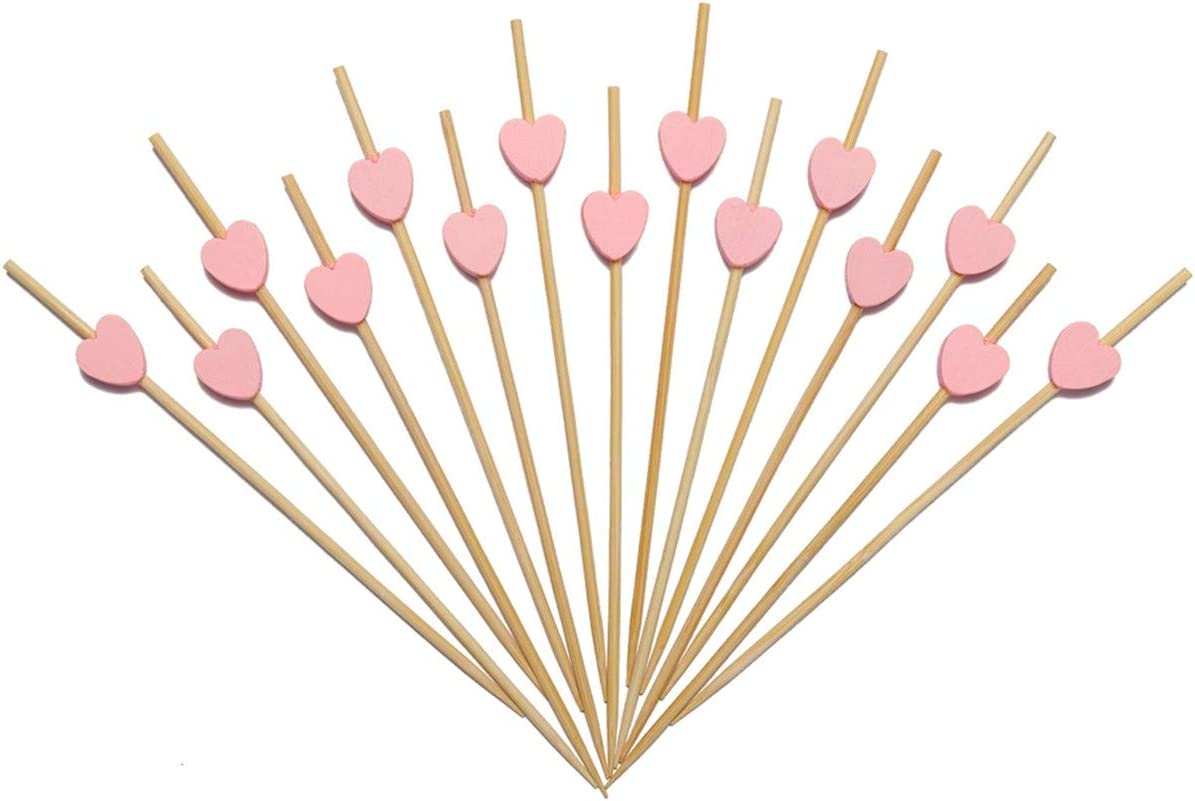 Minisland Pink Heart Skewers for Appetizers Fruit Kabobs Long Bamboo Cocktail Picks Baby Shower Bridal Wedding Birthday Valentines Party Food Drinks Décor Toothpicks 4.7 inch 100 Counts -MSL134