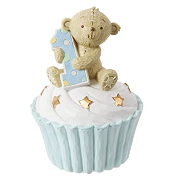 Meine Erste Spardose Zum 1 Geburtstag Cupcake Teddybar Blau